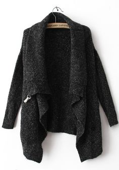 Black Lapel Cardigan Sweater