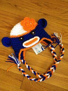 Crochet Baby Newborn Chicago Bears Boy Girl Sock Monkey Hat with Earflaps Made to Order Denver Broncos