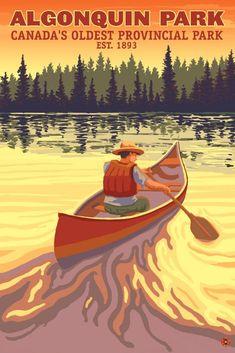 Art Print: Algonquin Provincial Park - Ontario, Canada by Lantern Press : Tarzan, Artist Canvas, Canvas Art, Grands Lacs, Algonquin Park, Parks Canada, Canada Eh, Retro Poster, Destinations