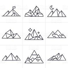Symboles et icônes de la montagne symboles et icônes de la montagne – cliparts vectoriels et plus d'images de beauté de la nature libre de droits