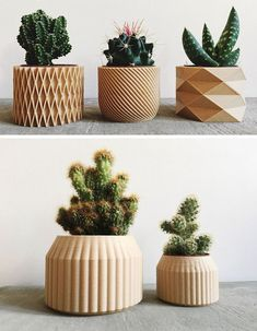 These modern and intricate geometric planters by Minimum Design are printed products made from recycled wood fibers and bioplastic, making them biodegradable. # printed products These Biodegradable Planters Are Made From Printed Wood Machine 3d, 3d Printing Machine, 3d Printing Diy, 3d Printing Business, 3d Printing Service, 3d Printed Objects, 3d Printer Designs, Best 3d Printer, Decoration Plante