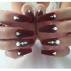 So pretty more diamond nail designs, diamond nails, matte nails, burgundy. Diamond Nail Designs, Diamond Nail Art, Nail Art Designs, Nails Design With Diamonds, Rhinestone Nails, Bling Nails, Bling Nail Art, Gem Nails, Fancy Nails