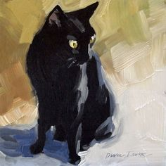 Black Cat in the Sunlight.  Original loose, impressionist oil painting, 6 x 6 inches by Diane Irvine Armitage.