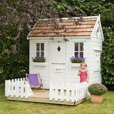 Lawn & Garden:Amazing White Modern Painted Wood Backyard Garden Playhouse Design Ideas With White Rectangle Painted Wood Door Also Double Window Added White Wood Fence Simple Garden Playhouse Inspiration for Your Kids Outside Playhouse, Backyard Playhouse, Build A Playhouse, Playhouse Ideas, Cubby Houses, Play Houses, Childrens Playhouse, Wendy House, Outdoor Play