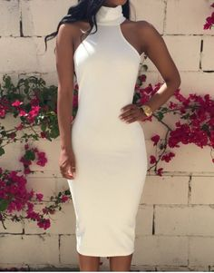 Gorgeous Turtleneck Back Hole Bodycon White Dress For Women