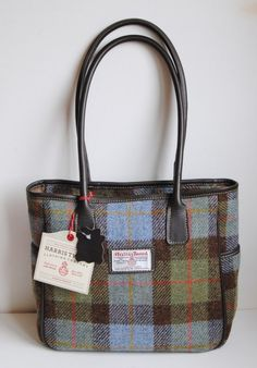Skye Harris Tweed shoulder or tote bag in Lovat tartan with leather trim