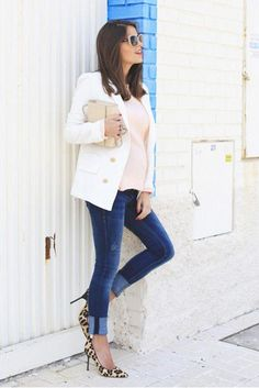 Casual summer work outfit idea: a white blazer, leopard heels, and jeans, inspired by Seams for a Desire