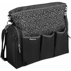 iPack Baby Cheetah Diaper Bag, Black
