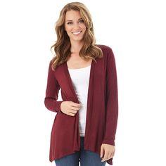 Women's Apt. 9 Lace Back Cozy Cardigan, Dark Red