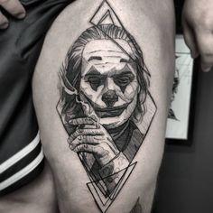 Put on a Happy Face — Joker Tattoo - Wormhole Tattoo 丨 Tattoo Kits, Tattoo machines, Tattoo supplies Sketch Tattoo Design, Tattoo Sketches, Tattoo Drawings, Tattoo Designs, Clown Tattoo, Batman Tattoo, Joker Tattoos, Head Tattoos, Body Art Tattoos