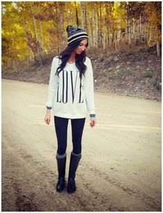 casual outfit- love sweatshirt with leggings.