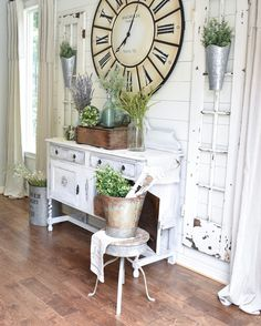 Distressed, rustic furniture gives this space an inviting, farmhouse vibe! Shabby Chic Farmhouse, Shabby Chic Kitchen, Shabby Chic Homes, Shabby Chic Decor, Rustic Decor, Farmhouse Decor, Farmhouse Style, Rustic Clocks, Kitchen Decor