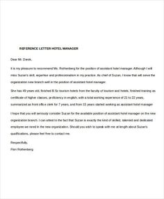 image result for sample recommendation letter of a hotel