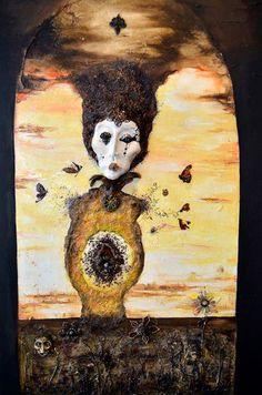 Marina Retamar: Pintura al oleo , tecnica mixta bajo relieve con insectos 1,20m x 60cm