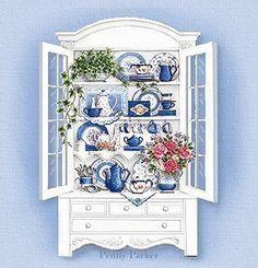 i like this charming hutch. Penny Parker, Decoupage, Image Deco, Tea Art, Wall Art Designs, Paper Dolls, Coloring Pages, Illustration Art, Blue And White