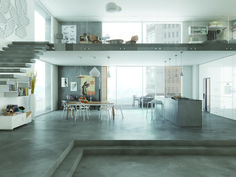 Mapei's impressive Ultratop range features two ideal coating products for creating highly original decorative interior floors and walls with classic pronounced effects; the course grained Ultratop Loft F for a materic. Office Interior Design, Office Interiors, Interior Modern, Modern Luxury, Concrete Interiors, Concrete Houses, Concrete Floor, Christmas Living Rooms, Christmas Room