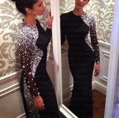 Black prom dress, long sleeve prom dress