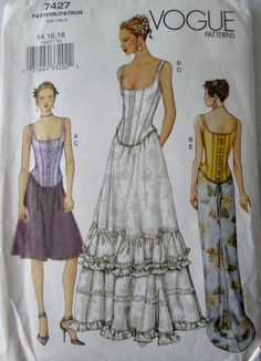 Vogue 7427 Women's Boned Top and Floor Length Fishtail, Flared, Mid Knee Skirt Sewing Pattern Bust 36, 38, 40 by Denisecraft on Etsy