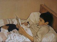 Gilles Peyrache (boy and cat, reading)