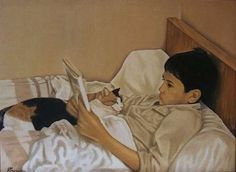 Gilles Peyrache (boy and cat, reading)