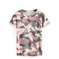 7f678785 Camouflage Print Short Sleeve T-shirt. Fashion ClothesClothes WomenFashion  ...