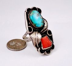 Long Navajo Sterling Silver Turquoise Coral Ring Old Feather BOHO Ladies Fashion #VintageKnuckleRing #TurquoiseCoralRinginSilverSetting #OldPawnJewelry