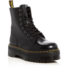 Dr. Martens Jadon Platform Booties (£147) ❤ liked on Polyvore featuring shoes, boots, ankle booties, black, black combat boots, black leather booties, black booties, black army boots and leather booties