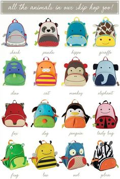 Skip Hop Animal Backpacks - perfect for your day trip to the zoo! Animal Backpacks, Kids Backpacks, Diy Quiet Book, Baby Face Drawing, Skip Hop Zoo, Going Back To School, Animal Faces, Kids Bags, Kind Mode