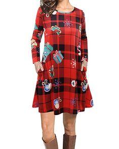 88ba763d65c Best Seller VIUVIU Women Casual Long Sleeve Loose Checkered Plaid Swing  Christmas Tunic T-Shirt Dress Pocket online - Allfashiondress