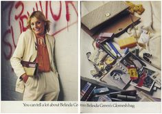 Belinda Green in the 'You can tell a lot about her from what's inside her Glomesh bag' campaign Retro Fashion, Vintage Fashion, Teenage Years, Bag Accessories, Nostalgia, Canning, Mesh Bags, Celebrities, Green