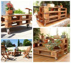 Pallet furniture DIY ideas flower garden furniture coffee table