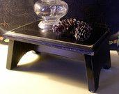 Primitive Distressed Black Table Riser Bench Farmhouse Favorite / Shabby Chic Cottage Centerpiece