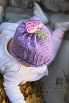 Purple Knit Flower Hat with Pink Pansy and by ThatsTheCutestThing