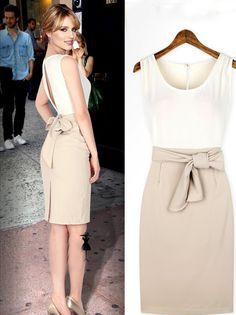 Retro Color Matched Backless Slim Dress - BuyTrends.com
