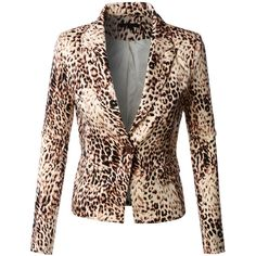 LE3NO Womens Fitted Fully Lined Single Button Leopard Blazer Jacket ($31) ❤ liked on Polyvore featuring outerwear, jackets, blazers, fitted jacket, cotton jacket, leopard jacket, stretch cotton blazer y stretch blazer