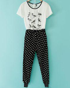 Black White Short Sleeve Polka Dot Birds Print Jumpsuit - Sheinside.com