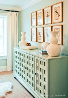 Mint green furniture with white creates a retro yet contemporary feel