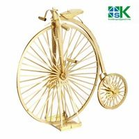 Funny Puzzle  ICONX 3D Metal model kits 6 inch The old bicycle golden 2 Sheets Military brass Puzzles DIY