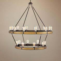 "Everett 38 1/2""W Bronze and Brass 20-Light 2-Tier Chandelier - #70W86 | Lamps Plus Chandelier Bedroom, Chandelier Lighting, Sloped Ceiling, Ceiling Lights, Circular Chandelier, Designer Shades, Weathered Oak, Living Room Lighting, Home Decor Styles"