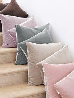 Velvet & Linen Cushions - Dove Grey - Cushions - Decorative Home - Indoor Living Luxury Cushions, Velvet Cushions, Scatter Cushions, Cushions On Sofa, Pink And Grey Cushions, Grey Velvet Sofa, Pink Velvet, Brown Sofa, Soft Furnishings