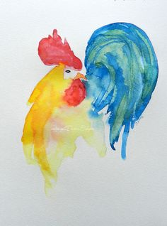 Rooster Picture- Original Watercolor Painting- available on Etsy.