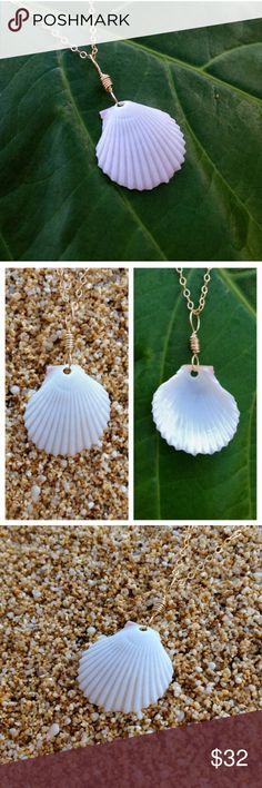 Hawaiian Clam/Scallop Shell Gold Beach Necklace Handmade with Love, by me! NWT. This delicate, white Hawaiian sunrise scallop shell pendant has 14k gold filled wire and is very lightweight. Comes on a 20 inch 14k gold filled chain. Could go with just about any outfit!  This pendant is MADE TO ORDER and may slightly vary from the photo. I find all my shells here on the beaches and in the oceans on the north shore of Oahu, Hawaii!! PRICE FIRM!! No Trades! AlohaMermaidJewelry Jewelry Necklaces