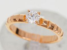 BOUCHERON Clou de Paris Solitaire Diamond (D0.33ct E-VVS1-Ex) Ring K18 28290402 #BOUCHERON #PointedeDiamantPinkGoldSolitaireRing