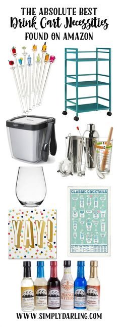 Make your summer parties complete with a super awesome Drink Cart. Pick up all the items on Amazon for easy shopping. Wow your guests with some delicious summer cocktails and put it all together on a cute and functional drink cart.