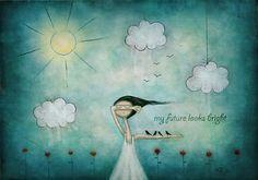 """My future looks bright"" Art Prints by Amanda Cass Art And Illustration, Illustrations, Arthur Ashe, Art Carte, Bright Art, Canvas Prints, Art Prints, Whimsical Art, Art Boards"