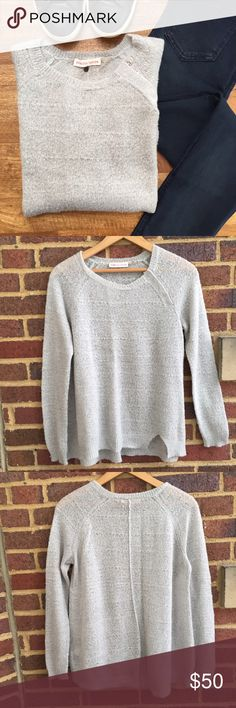 Rebecca Taylor Sweater Lightweight gray sweater - acrylic / mercerized wool / nylon / alpaca blend. Super soft! Great slit accent on front with snap detail at shoulder. Size is a small but fits more like an XS. Rebecca Taylor Sweaters Crew & Scoop Necks