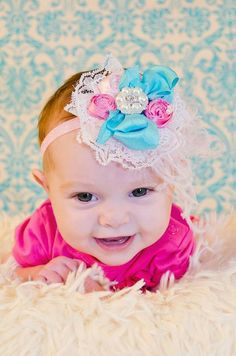 Baby Headband-Baby Girl Headband-Newborn Bow by AvryCoutureCreations