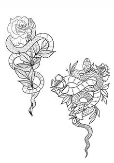Snake Tattoo, Arm Tattoo, Body Art Tattoos, Small Tattoos, Sleeve Tattoos, Snake And Flowers Tattoo, Future Tattoos, Tattoos For Guys, Tattoos For Women