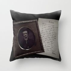 Edgar Allan Poe Pillow: Gothic, photograph, home decor, bedding, couch pillow, poetry, library, librarian, teacher, literary, Victorian
