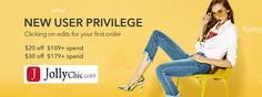 New User Privilege Click On Your First Order On #JollyChic $20 off $109+ Spend $30 off $179+ Spend   #Mens #Womens #Clothing